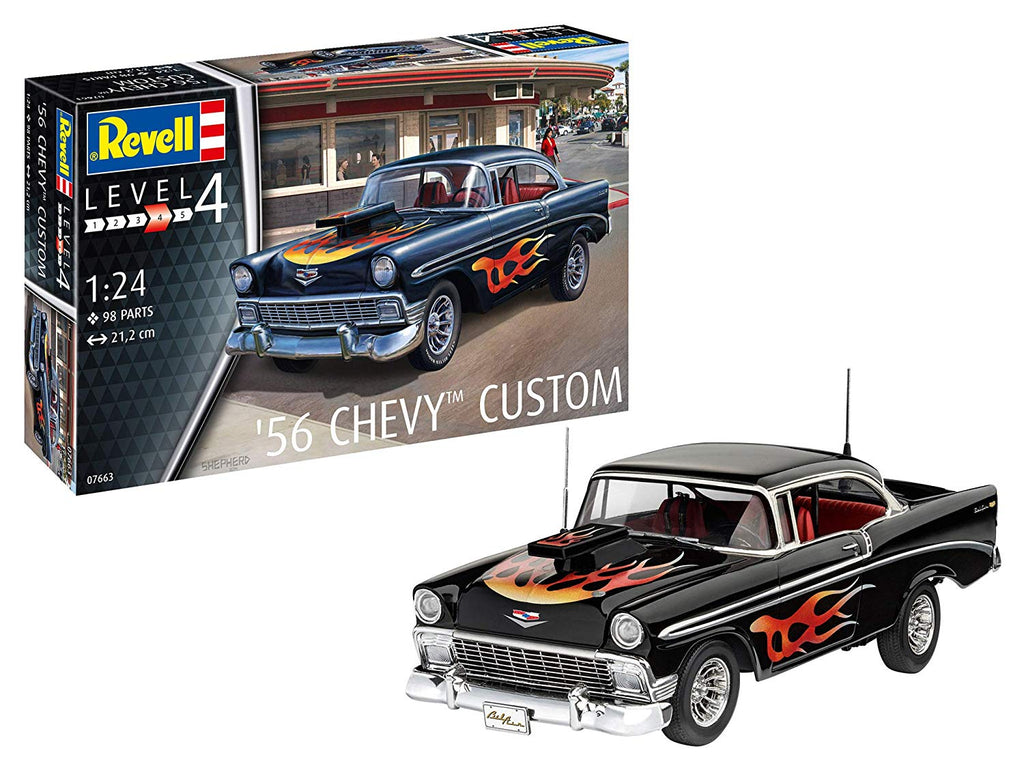 1956 Chevy Custom Car 1/24 Revell Germany 7663 - shore-line-hobby
