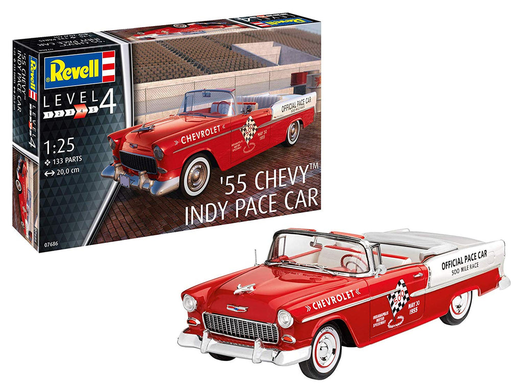 Revell 7686 1:25 '55 Chevy Indy Pace Car Plastic Model Kit - shore-line-hobby
