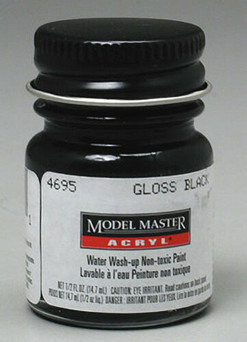 Testors # 4695 1/2oz Bottle Acrylic Gloss Black Paint - shore-line-hobby