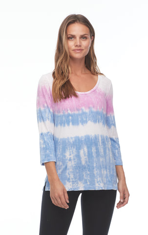 FDJ Tie-Dye Scoop Neck Top 1302476-MULTI