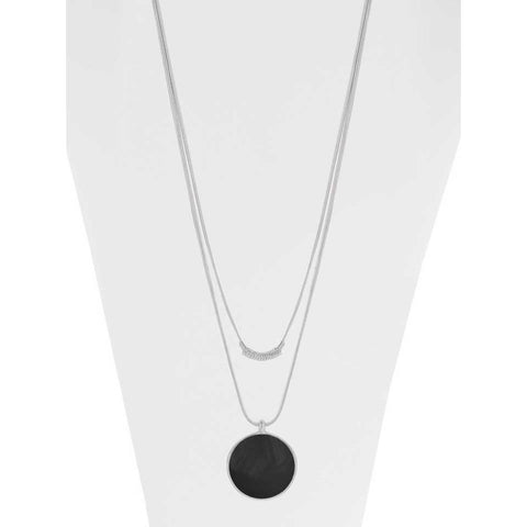 Caracol Necklace 1408-BLK-S Black/Silver