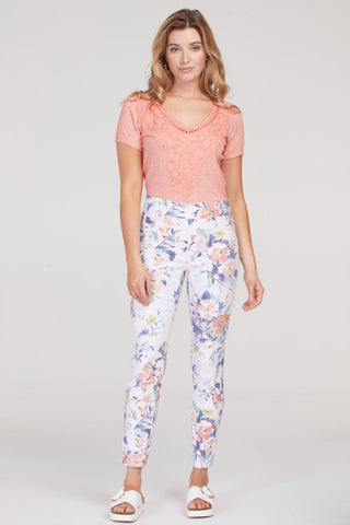Tribal Pull-On Print Jegging 5056O-1386-2709 Peach Tulip
