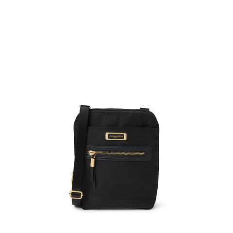 Baggallini Brooke Crossbody BRO539 Black w/ Gold Accents