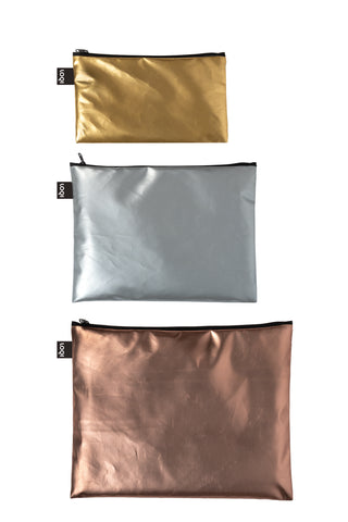 Loqi Set of 3 Zip Pockets ZP.MM Matte Metallic Gold/Silver/Rose Gold