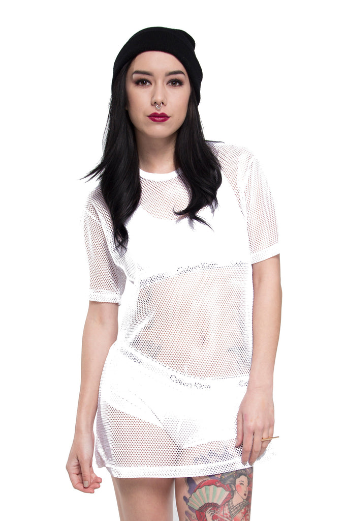All Meshed Up T-Shirt Dress - So International   - 1