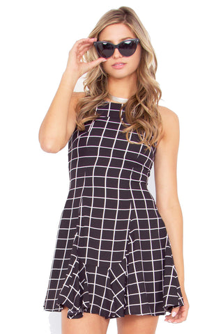 Black Grid Dress - So International   - 1