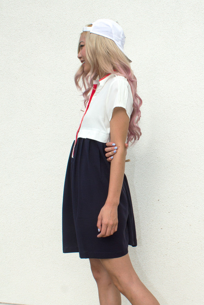 White and Navy Colorblock Dress - So International   - 2