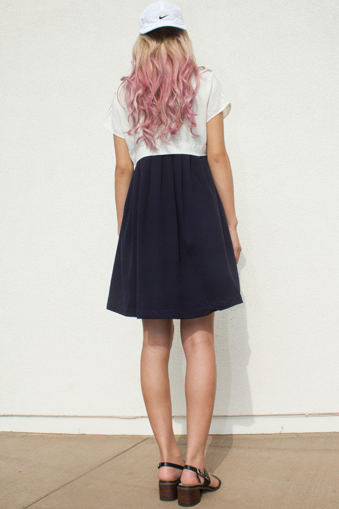 White and Navy Colorblock Dress - So International   - 3