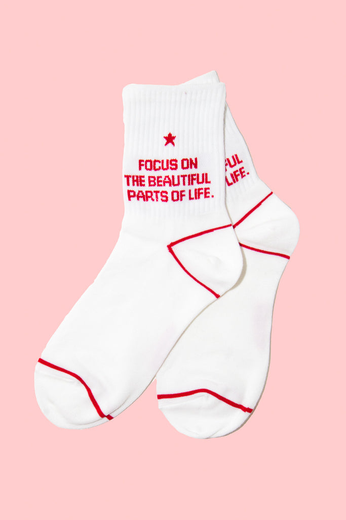 'Focus on the Beautiful Parts of Life' Socks - So International   - 1