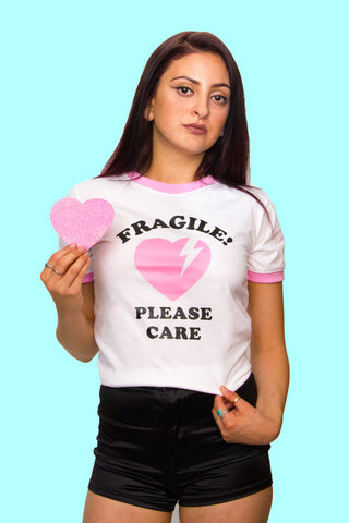 Fragile Ringer Tee | Pink - So International   - 1