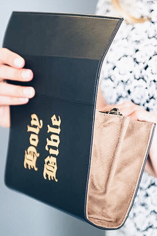 Holy Bible Black Vegan Leather Book Clutch - So International   - 1