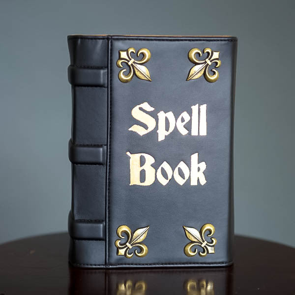 Spell Book Black Vegan Leather Book Clutch - So International   - 2