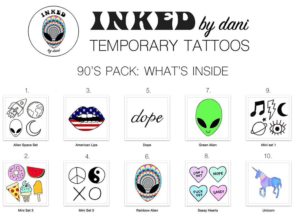 INKED by dani Temporary Tattoos: 90s Pack - So International   - 1
