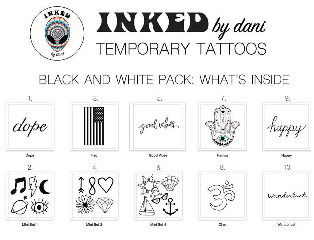 INKED by dani Temporary Tattoos: Black and White Pack - So International   - 1