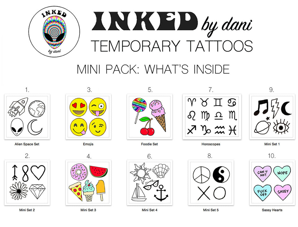 INKED by dani Temporary Tattoos: Mini Pack - So International   - 1