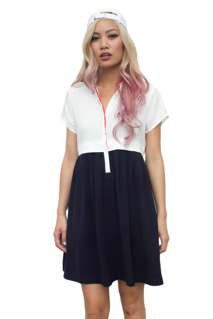 White and Navy Colorblock Dress - So International   - 1