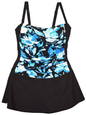 Heat Blue Floral Plus One Piece Skirtini P25-10299