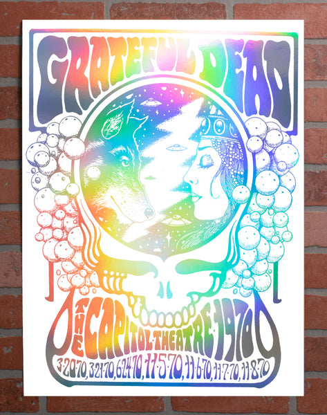 CAP X GRATEFUL DEAD 50TH ANNIVERSARY 1970 POSTER BY ALAN FORBES - RAINBOW FOIL INVERSE VARIANT, HAND NUMBERED, EDITION OF 100