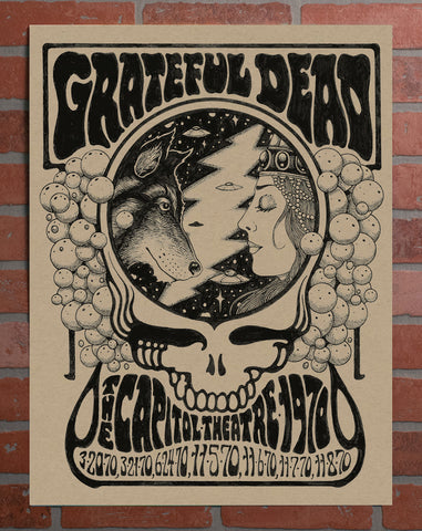 CAP x GRATEFUL DEAD 50TH ANNIVERSARY 1970 POSTER BY ALAN FORBES - SPECKLETONE KRAFT PAPER, HAND NUMBERED