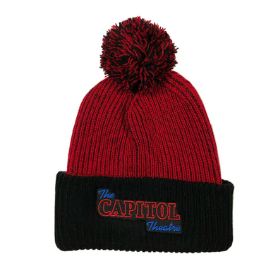 Capitol Theatre Red Pom Pom Hat with Embroidered Logo