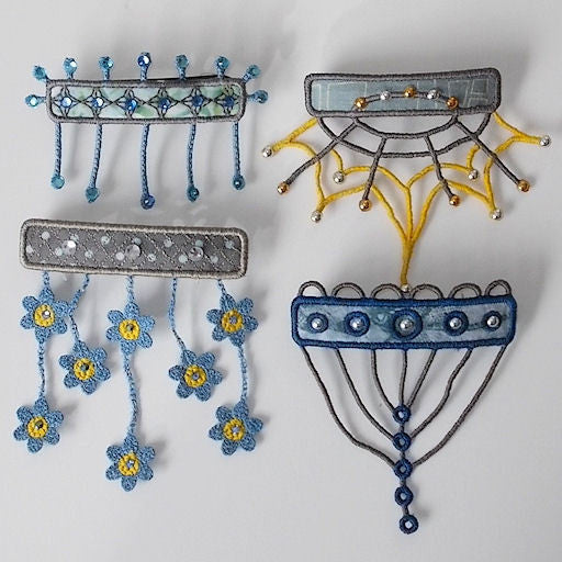 Machine embroidery in the hoop ITH barrette covers