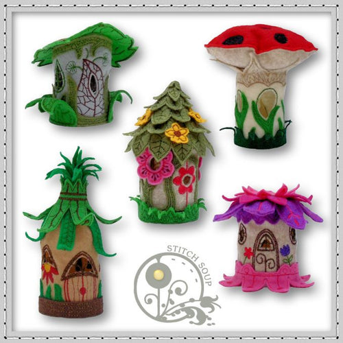 Machine embroidery in the hoop ITH fairy houses tea light holder