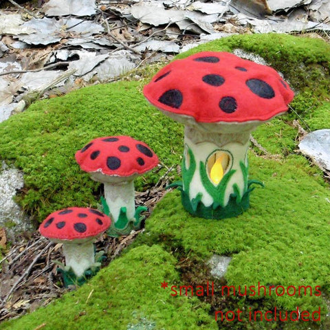 ... Machine Embroidery In The Hoop ITH Enchanted Forest Felt Mushroom Tea  Light Fairy House ...