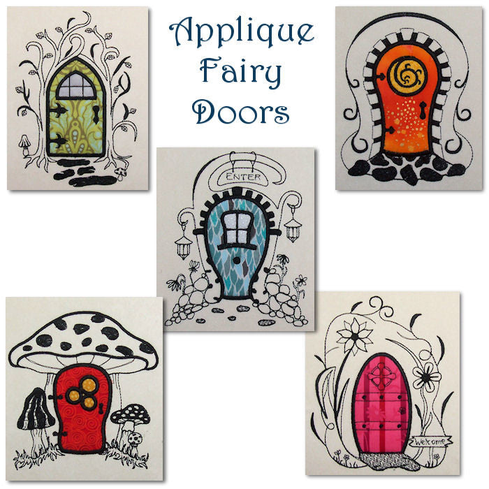 Machine embroidery applique fairy doors