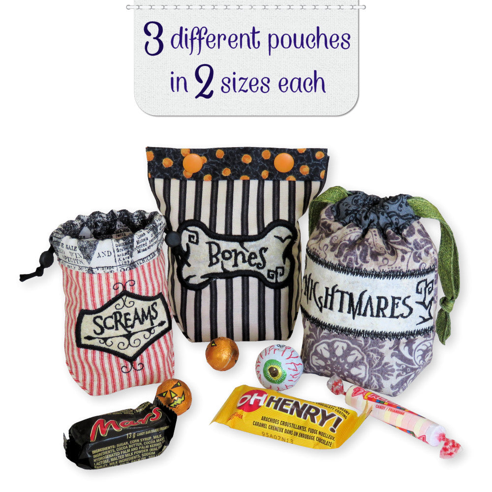 StitchSoup Machine Embroidery in the hoop ITH Halloween Pouches