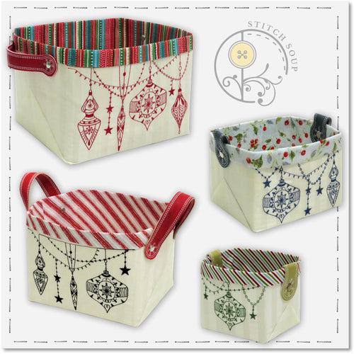 StitchSoup Machine Embroidery in the hoop ITH Christmas Baskets