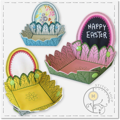 StitchSoup Machine Embroidery in the hoop ITH Easter Egg Bowls