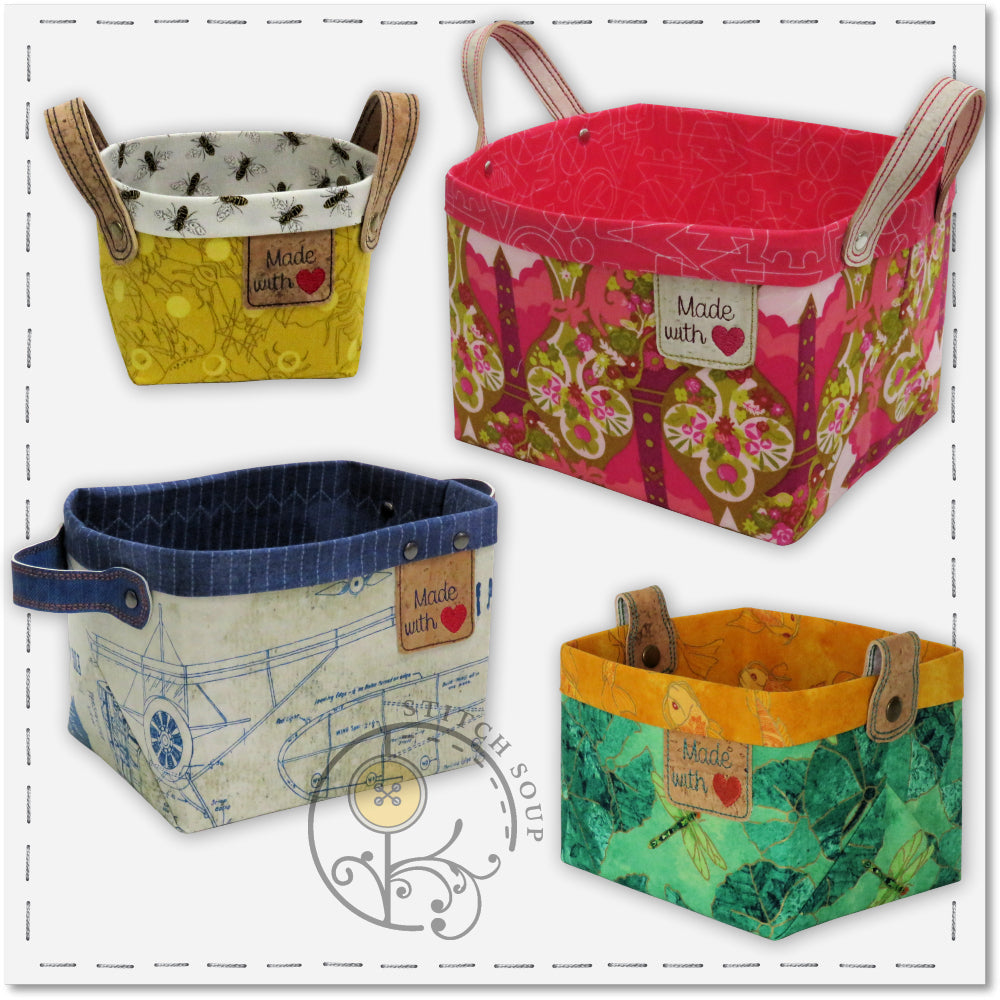StitchSoup Machine Embroidery in the hoop ITH Fabric Baskets