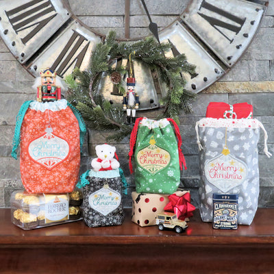 StitchSoup Machine Embroidery in the hoop ITH Christmas Ornament Sacks