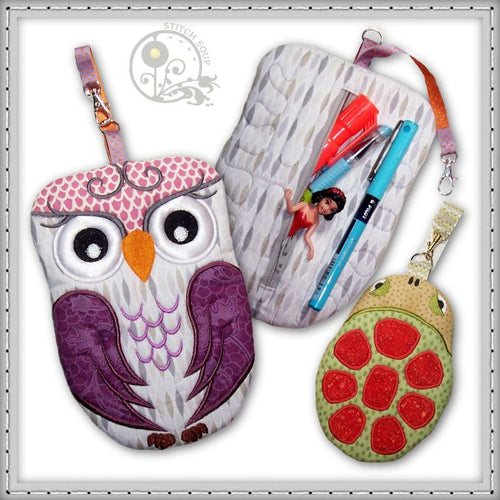Machine embroidery in the hoop (ITH) animal zipper pouch