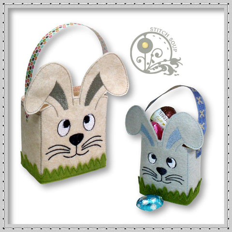 Machine embroidery in the hoop (ITH) Easter bunny bag