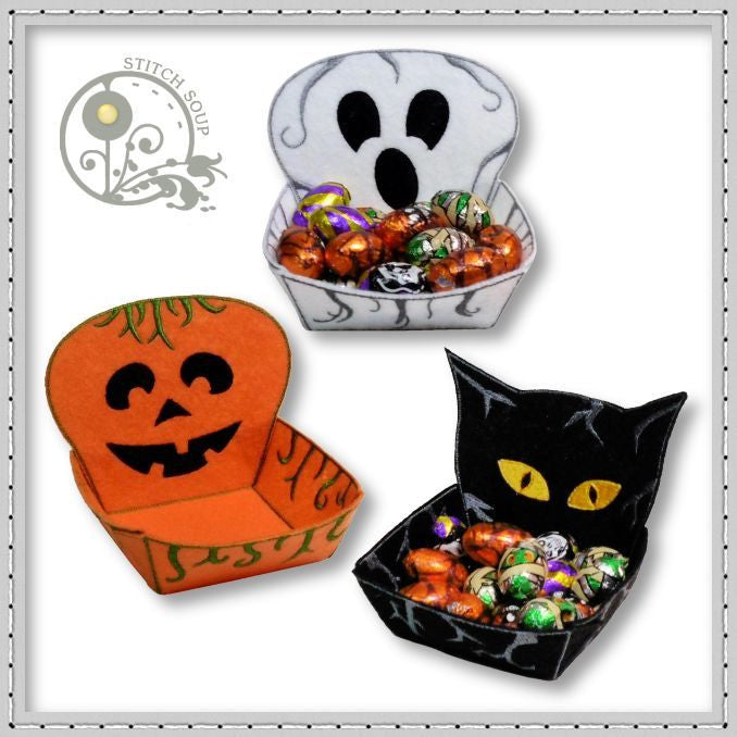 StitchSoup Machine Embroidery ITH Halloween Treat Bowls
