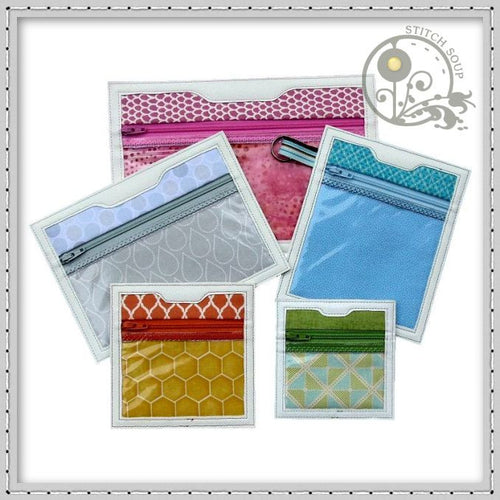 Machine embroidery in the hoop ITH Clear zipper pouches