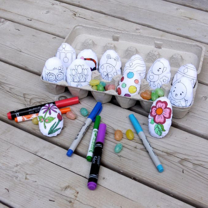 Machine embroidery in the hoop ITH coloring Easter eggs