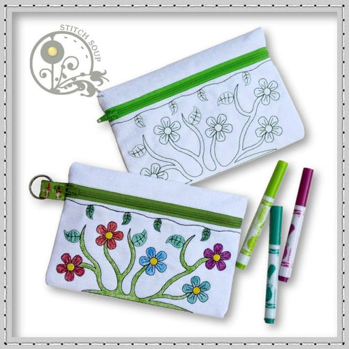 Machine embroidery in the hoop ITH coloring pencil cases