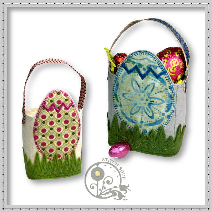 Machine embroidery in the hoop (ITH) Easter egg bag