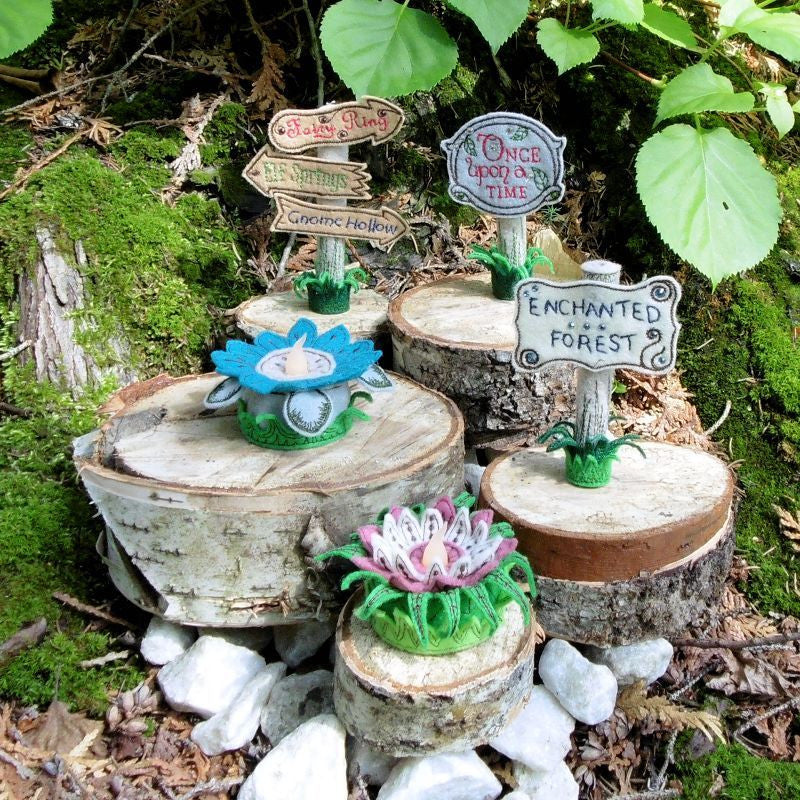 Machine embroidery in the hoop ITH enchanted forest felt signs flowers tea lights