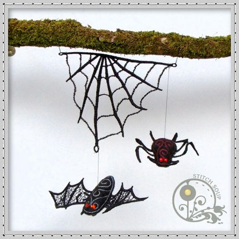 Halloween Hanging Lace & Felt Ornaments