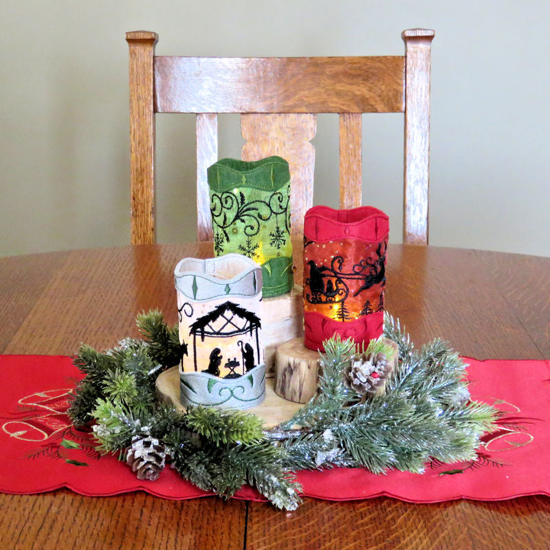 StitchSoup Machine Embroidery in the hoop (ITH) Christmas tea light luminary