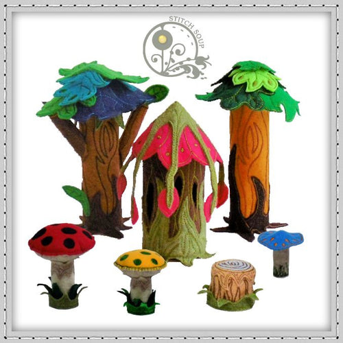 Machine embroidery in the hoop ITH enchanted forest felt mushroom tea light fairy house