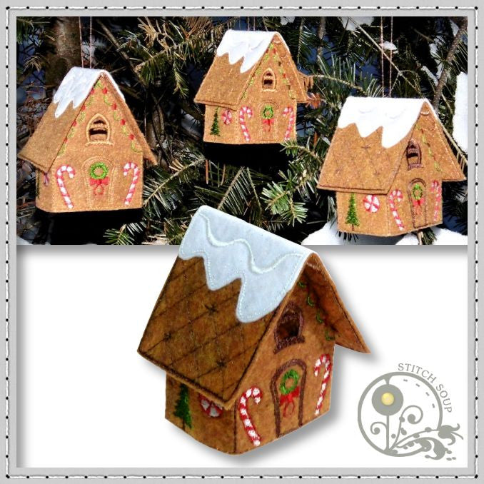 Machine embroidery in the hoop ITH Christmas Gingerbread House tea light holder