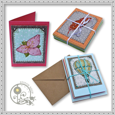 StitchSoup machine embroidery in the hoop ITH greeting cards
