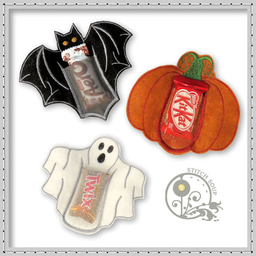 StitchSoup machine embroidery in the hoop ITH Halloween treat holder
