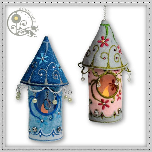 Machine embroidery in the hoop (ITH) tea light holder birdhouse lantern