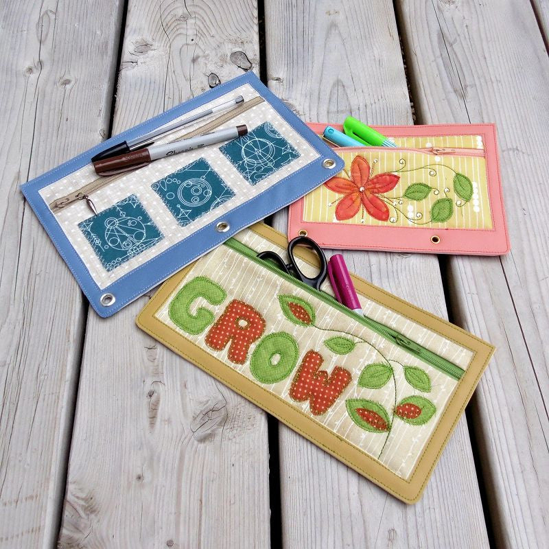 Machine embroidery in the hoop (ITH) zipper pencil cases