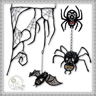 Machine embroidery in the hoop ITH FSL free standing lace spiderweb and bat